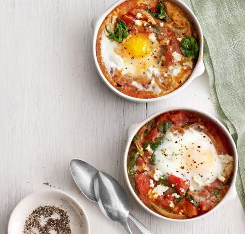Gebakken eieren met Spinazie en Tomaat (Paasrecept)