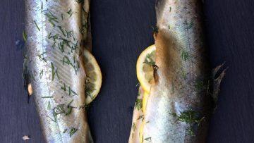 Forel op cederhouten plankje op de BBQ